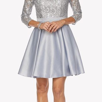 Lace Sequins Top Mid-Length Sleeves A-Line Short Prom Dress Silver