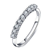 Sterling Silver Cubic Zirconia Weeding Ring with 9 Stones