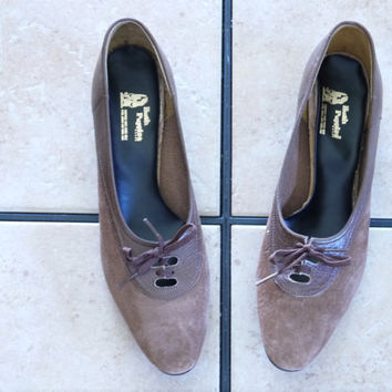 Vintage Hush Puppies Dark Brown Suede/Leather Lace Up Classic Dress Shoes Sz 10