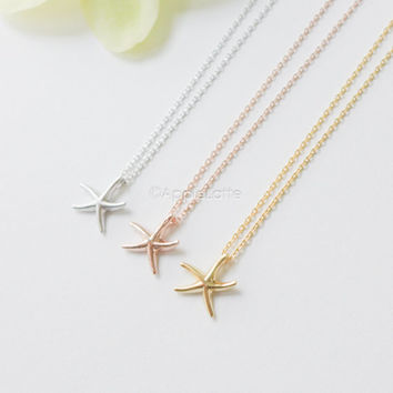 starfish necklace, star fish necklace, star fish jewelry,beach jewelry, gold starfish necklace,silver starfish necklace,pink starfish