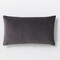 Studded Velvet Rings Pillow Cover - Iron