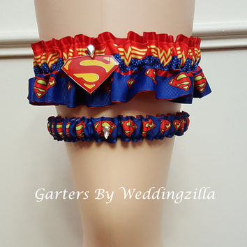 Superhero Wedding Garter. Wonder Woman Bridal Garter,  Superman Wedding Garter Set,   Wedding Garter Belt, Marvel Comics Wedding, Super Hero