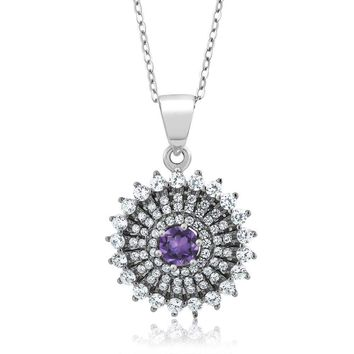 1.56 Ct Round Purple Amethyst Gemstone Birthstone 925 Sterling Silver Pendant