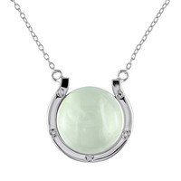 Prehnite & Diamond Accent Sterling Silver Horseshoe Necklace (Green)
