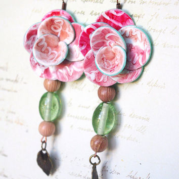 green rose pink Flower earrings Polymer clay jewelry