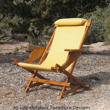 SALE: Marley Prospector Handcrafted Wood Chair Reclining Outdoor All Weather Camping Folding Sling Deck Beach