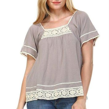 Women's Square Neck Short Sleeve Crochet Top