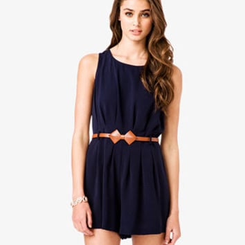 Pleated Romper w/ Bow-Shaped Belt