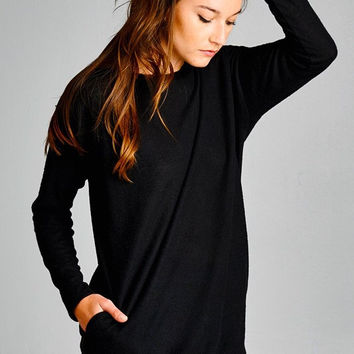 Casual Tunic with Pockets - Black
