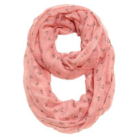 By the Sea Tiny Anchor Infinity Scarf Pink