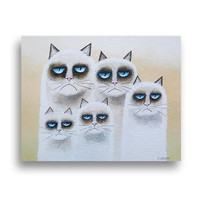 Animal Painting, Grumpy Cat Family Art Original Acrylic Painting on Canvas, Cat Whimsical Art 11x14x1.5