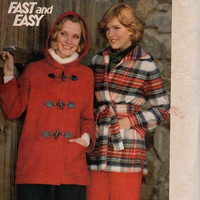 Retro Butterick Sewing Pattern 1970s Coat Toggle Closing Robe Wrap Front Jacket Hooded Uncut Bust 34