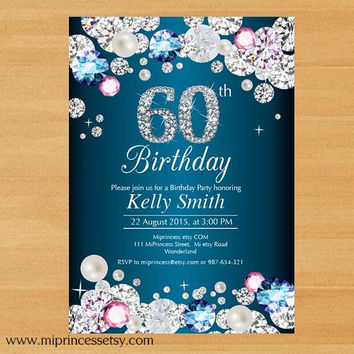 Glam birthday invitation, Rhinestone diamond elegant invite 30th 40th 50th 60th 70th 80th 90th adult birthday design - card 632