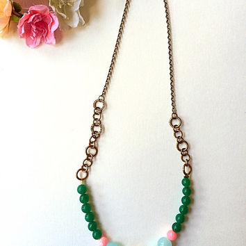 Pastel green necklace /Pastel statement necklace/ girly fashion /vintage style necklace/ mint, pink necklace/ unique necklace