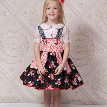 Minnie Mouse Skirt - Handmade Disney - Disney Birthday - Toddler Birthday - Skater Skirt - Sizes 2T to 10 Years