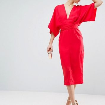 ASOS Kimono Plunge Midi Dress at asos.com