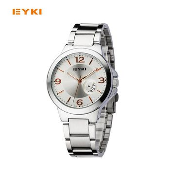 Famous Brand Eyki Quartz Couple Watches Stylish Luxury Flower Print Luminous Calendar Watch Female Male Table Hour Date Clock