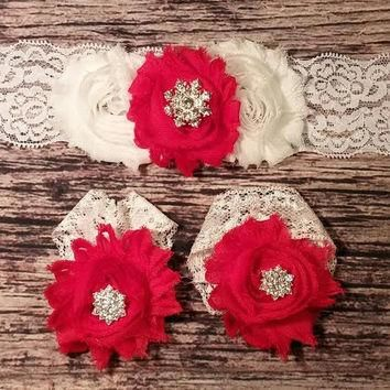 White and Red Shabby with Rhinestone Snowflake on Lace Baby Girl Headband and Barefoot