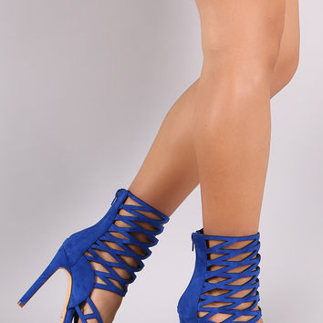 Suede Caged Ankle Cuff Single Sole Heel