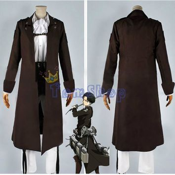 Cool Attack on Titan : The Wings of Counter Levi/Eren Cospaly Costume Long Trench Coat Jacket Custom Size AT_90_11
