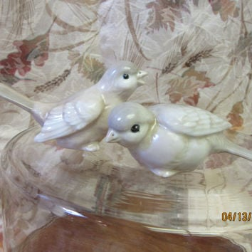 Birds Cake toppers, bird figurines, Porcelain Ceramic, Love Birds handmade by B. Marsh