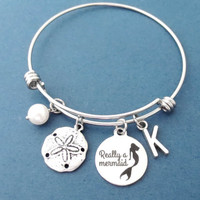 Really a mermaid, Starfish, Personalized, Letter, Initial, Pearl, Mermaid, Bangle, Bracelet, Custom, Letter, Bracelet, Gift, Jewelry