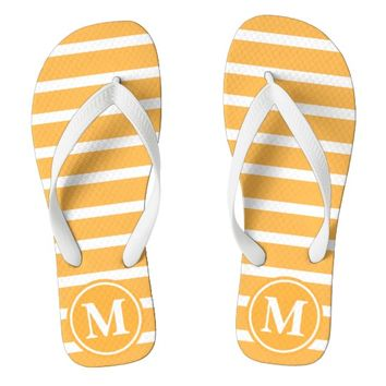Orange H Stripe Monogrammed Flip Flops