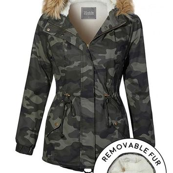 Sherpa Lined Camo Military Anorak Hoodie Jacket with Removable Faux Fur