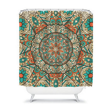 Mandala AZTEC Tribal Shower Curtain Turquoise Flower Circle Floral Pattern Bathroom Bath Polyester Made in the USA