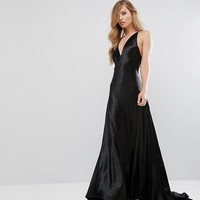Fame and Partners Premium Metallic Gown with Fishtail at asos.com
