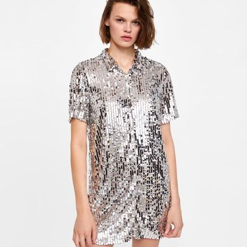 SEQUINNED SHIRT DRESS DETAILS