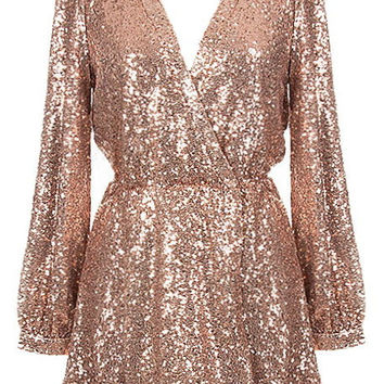 Reign or Shine Sequin Dress - Rose Gold