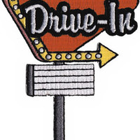 Drive-In Iron-On Patch Sign Logo