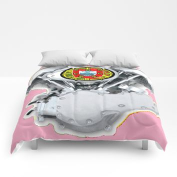 Portuguese Panhead Hot Pink. Comforters by Tony Silveira
