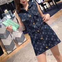 """Chanel"" Women Casual Fashion Letter Buttons Cardigan Sleeveless Vest Jacket Denim Short Skirt Set Two-Piece"