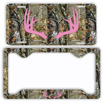 Pink Antlers Camo Deer License Plate Frame Car Tag Country Hunting