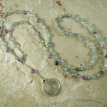 Ariadne Prayer Bead Necklace in Rainbow Fluorite: Greek Goddess, Mistress of the Labyrinth