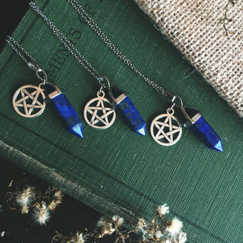 Lapis Lazuli Point Necklace ~ Pentagram Charm ~ Hexagonal Prism Point