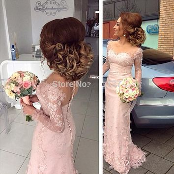Robe Demoiselle D'honneur Sexy Pink Lace Mermaid African Bridesmaid Dresses Sweetheart with Long Sleeves Wedding Party Dresses