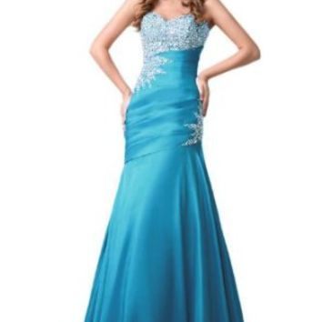 Sunvary Mermaid Long Evening Formal Dress Bridesmaid Dress Party Gown- US Size 2- Blue AML168