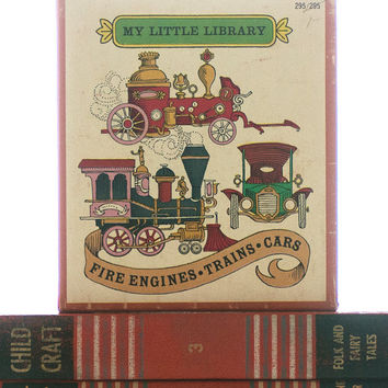 My Little Library, Fire Engines, Trains, Cars, 1963 Rutledge Books, Box and Three Books, Vintage Books, Child's Room Decor, Display