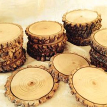 "4""-5"" Tree Slices, Rustic Tree Slices, Sanded Wood Coasters, Rustic Wedding Decor,Oak, Set Of 100"