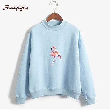Women Flamingos Sweatshirt Fashion Fleece New Autumn Hoodies Fashion Pastel Colors Flamingos Printed Turtleneck Tracksuit