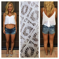 White Circle Lace Crop Top