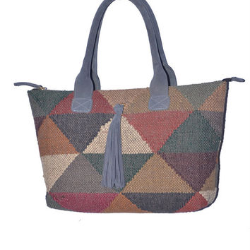 India Traditional Handmade Wool Jute Rug Rag Bag,Purse,Specially Women Purse,Special Occasion Boho Bags,Hippie Killim Look Bags