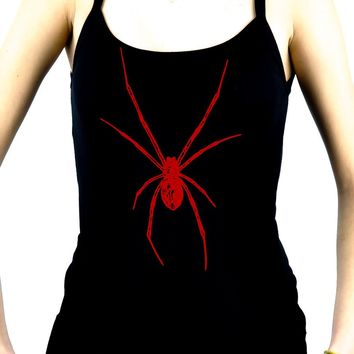 Red Print Black Widow Spider Women's Spaghetti Strap Shirt Gothic Clothing