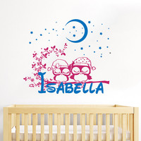Owl Wall Decal Name Vinyl Sticker Personalized Custom Name Moon and Stars Decals Children Kids Baby Name Girls Nursery Boys Room Decor AN667