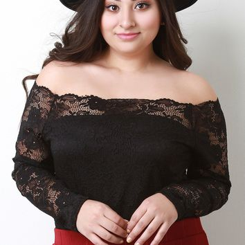Scallop Bardot Floral Lace Top
