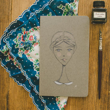 Paper Goods Journal Painted Moleskine Journal Acrylic Painting Girl Portrait Painting Notebook Journal Moleskin Notebook Original Art