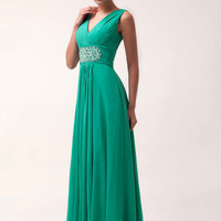 Green Deep V-Neck Ruched  Sleeveless Flounce Chiffon Maxi Dress